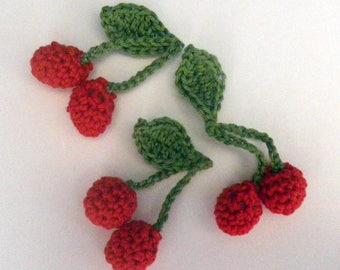 cherries - crochet - tea party