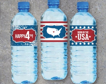 4th of July Water Bottle Labels – Wraps for Candles, Napkin Rings, Vases, Treat Containers, Party Favors and more! – Printable Digital Files