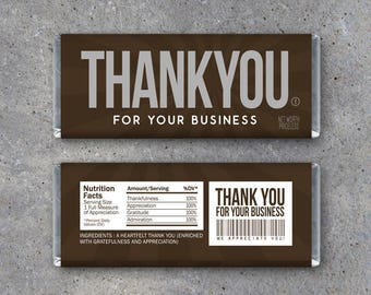 THANK YOU For Your Business Candy Bar Wrapper – Printable business thank you gift – Hershey's customer appreciation card - Company gifts