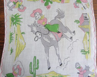 Two Vintage Childs Hankies/ Cowboy and Cowgirl Hankies/ Western Decor/ Childs Room Decor/ Collectible/ Cowboy Decor/ Cowgirl Decor/