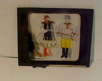 Three Vintage Antique  Magic Lantern Color Glass Slides  Holland Dancers