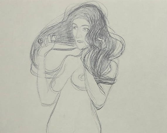 Large Gustav Klimt print of black crayon drawing of nude standing woman with long loose hair, 9 x 14 ins, 23 x 35.5 cm, published 1980