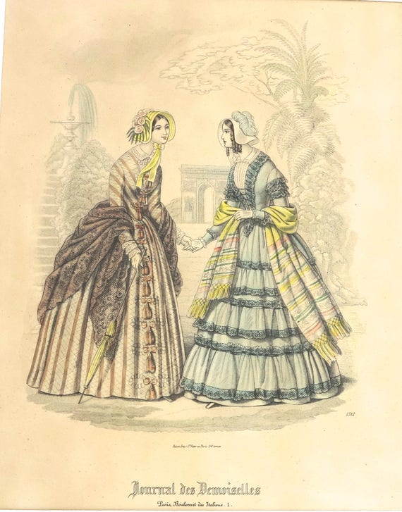 Antique 1800's lithographic print of illustration from French fashion magazine, hand colored, fashionable women strolling in garden, 1872