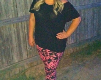 Pink and Black Paisley Print Leggings