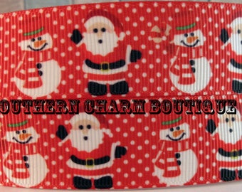 "3 yards 1"" Christmas Santa and Snowman grosgrain ribbon"