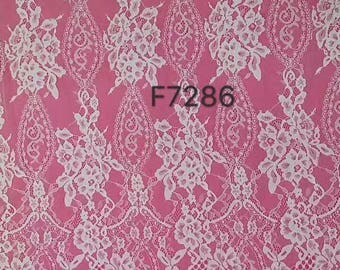 "Chantilly Lace Fabric sell by yard ,off  White Chantilly Lace fabric  for wedding 59"" width-7286"