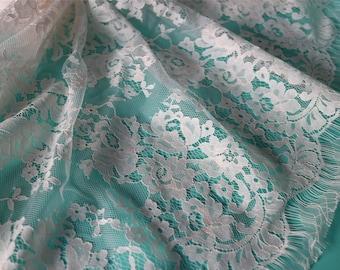 """Beige lace fabric White wedding Lace / ivory white 59"""" wide white Wedding Lace Fabric,cotton ivory lace fabric"""