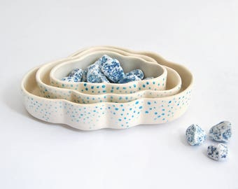 Nested Ceramic Bowls, Cloud-Shaped and Decorated with Blue Dots. Ready To Ship