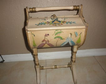 Antique Sewing Chest All Wood and Handpainted