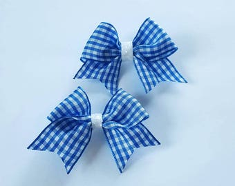 Blue gingham hair clips, school hair clips, blue gingham hair bow, checked hair bows, school uniform, school hair accessories, gingham bows