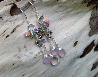 Rose Quartz Multigemstone Long Dangle Cluster Earrings   Sterling Silver   Chain Cluster Earrings Birthstone Earrings