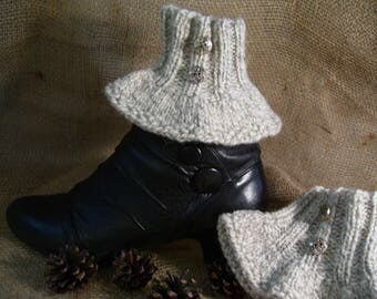 Steampunk clothing, spats-knitted boot cuff for ankle boots in 100% gray Canadian Wool