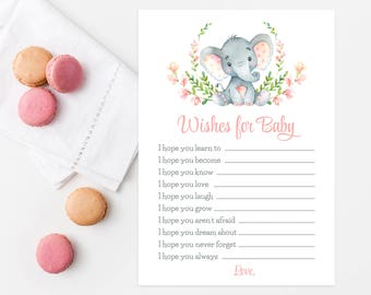Wishes For Baby Elephant Baby Shower Game, Girl Baby Shower Activity, Safari Animals, Jungle Animals, Watercolor Elephant, Blush Pink E40