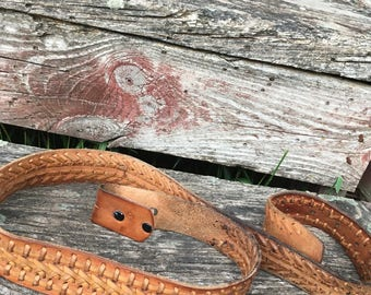 Vintage Western Tooled Leather Belt. Brown Leather. Hand Tooled. Stitching. Cowhide. Cowboy. Prairie. Tooled Rawhide. Top Grain. Size 40