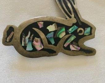 Vintage Alpaca Mexico Abalone Inlay, Bunny Rabbit Brooch. Wonderful 70's Piece.