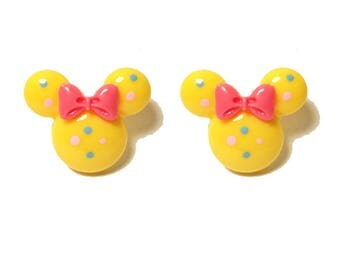 "Handmade Confetti Minnie"" Yellow Minnie Mouse Inspired Earrings with Blue and Pink Dots and Pink Bow"
