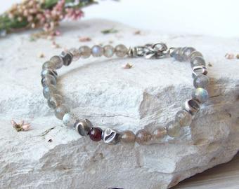 Silver labradorite bracelet, oxidized sterling silver, sterling silver chain, artisan jewelry