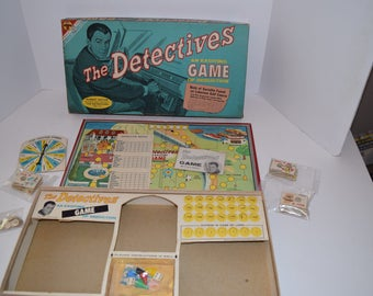"Vintage 1961 Transogram ""The Detectives"" Board Game - Robert Taylor On Cover"