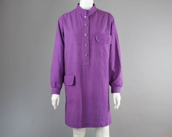 1970s Yves Saint Laurent Rive Gauche Dress tunic heavy linen purple magenta M