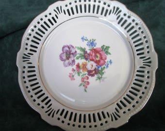 Schwarezenhammer Serving Bowl #5; Vintage Reticulated Bowl, Bavaria Germany U.S. Zone 1946 - 1949, Floral Pattern
