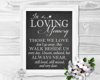 Printable Memory Table Wedding Sign, Chalkboard Style, In Loving Memory, In Honor, Remembrance (#MM12C)