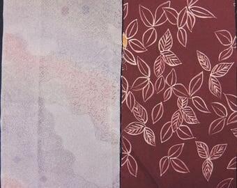 Vintage kimono silk fabric 2 pcs #7377