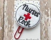 Nurses Rock Feltie Planner PaperClip Bookmark  Bible Journaling Supplies Planner Accessories  Nurse Gift Party Favors  Embroidery Feltie