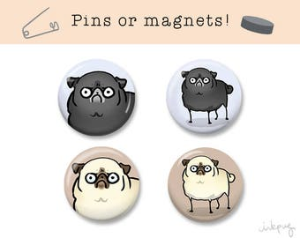 Angry Pugs - funny fawn pug or black pug pins or magnets - cute pins, funny pins, pug gift, pug magnets, pug pins by Inkpug