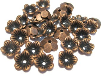 20pcs Antique Copper Flower Bead caps 10x3mm