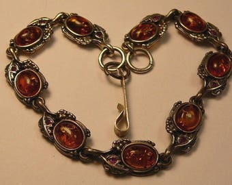 Stunning Imperial Russian Sterling Silver Amber Ruby Diamond Bracelet C 1890s Marked Tested