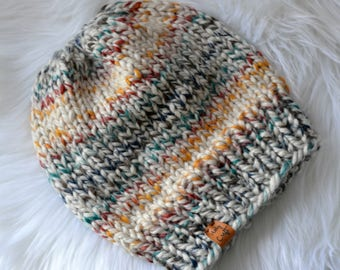 Multi-color Knit Hat, Chunky Knit Hat, Silver Fox Pom Pom, Ready to Ship, Golden Brown Pom Pom, Hand Knit Chunky Hat, Knit Pom Pom Hat