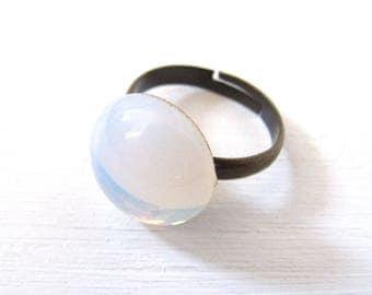 Venezianisches Opalglas Mondstein vintage Ring bronze verstellbar adjustable goldfoliert