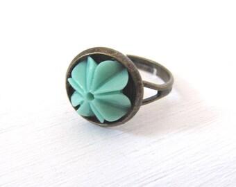 Flower Power vintage Bronze Ring verstellbar schlicht Bohemian Style