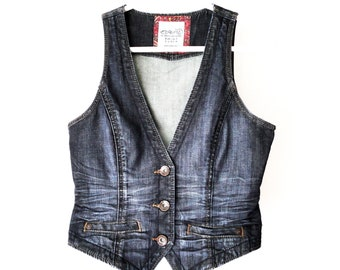 ESPRIT Blue Denim Vest, Denim Vintage Vest, Women Girls Vest, Denim Fitted Waistcoat, Blue Jeans Vest, Sleeveless Jeans Jacket, Small, Vegan