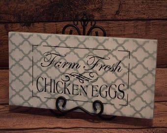 "Handpainted Farm Fresh Chicken Eggs Sign - Quatrefoil Pattern, Vintage Chalk Acrylic - Farmhouse Design 14"" x 7-1/4"""
