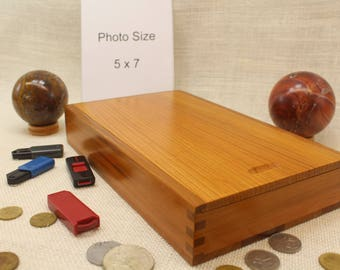 Photo Box 5 x 7, Sliding Top Box, Sliding Lid Box, Sliding Lid Photo Box, Sliding Top Photo Box, Wooden Photo Box, Slide Top Box (st51126P)