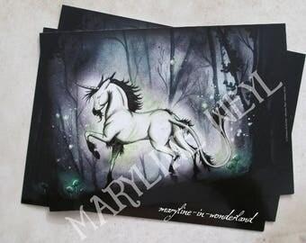 x 1 postcard bright Unicorn horse