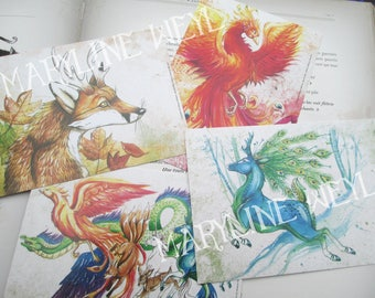 "Set of 4 postcards ""the fabulous animals grimoire"" Phoenix"