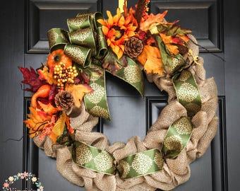 Beautiful Fall Burlap Wreath with Fall Picks, Fall Wreath, Autumn Wreath, Harvest Wreath, Thanksgiving Wreath, Housewarming