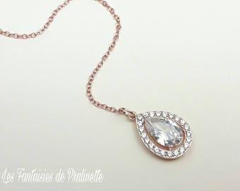 Bijoux mariage de dos, rose gold, pendentif de dos, pendentif cristal zircon, pendentif mariage de dos, collier de dos, bijou de dos mariée