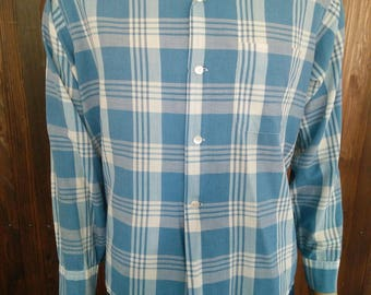 Vintage 50' 60' men's Sandy MacDonald blue plaid long sleeve shirt loop collar size Large