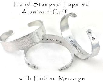 Hand Stamped Aluminum Cuff Bracelet Tapered Hammered Cuff Hidden Message Personalized Jewely Gifts Under 20 Engraved Mantra Bracelet Namaste