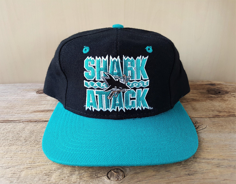 online retailer fdd97 3ba2d ... nhl smoked cap n93204wot 7053b 1fed5  australia purchase shark attack san  jose sharks original vintage 90s snapback hat ajd signature official  licensed