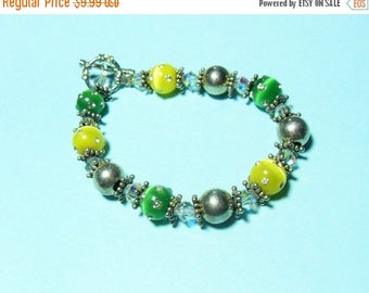 CLEARANCE Silver yellow and green rhinestone catseye beaded bracelet, Bipster bracelet, beaded bracelet, yellow bracelet, green bracelet