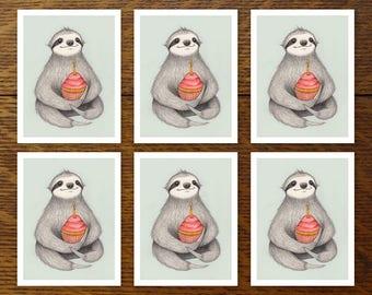 Set of 6 - Birthday Sloth cards