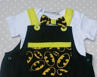 Batman baby boy dungarees with bow tie detail vest. Size 12 to 18 month