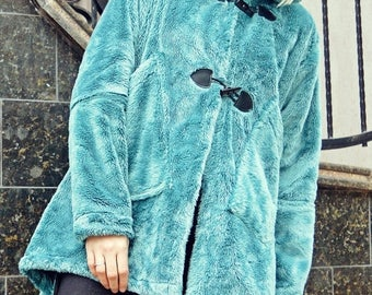 SALE 15% OFF Turquoise Faux Fur Coat / Extravagant Faux Fur Coat / Asymmetrical Winter Coat TC77