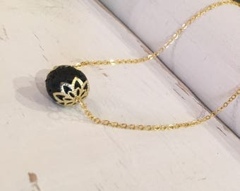 Essential Oil Defuser Lava Stone Aromatherapy Gold Necklace