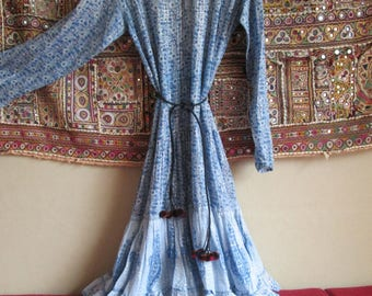 Vintage 1970 indian hippie gauze dress with silver thread