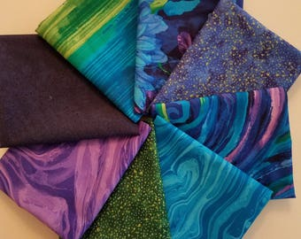 Fabric Bundle of Midnight by Timeless Treasures.  8  different FQ  fabrics and 1 Panel